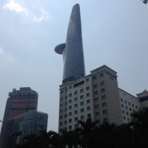 The Bitexco Tower with it's Lotus Blossom curve and tongue like helicopter pad.