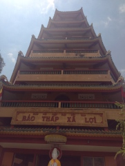 Looking up at the six stories of the Giac Lam Pagoda.