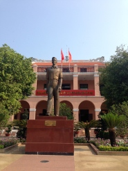 A statue of a young Ho Chi Minh outside of the museum.