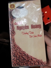 Menu from the Nguyen Hoang Coffee shop.
