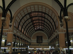 The sweeping iron arches of Pierre Eiffel's Saigon Post Office.